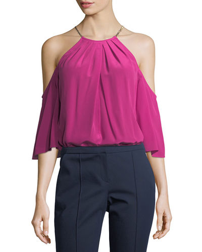 Halter Cold-Shoulder Silk Top w/ Hardware