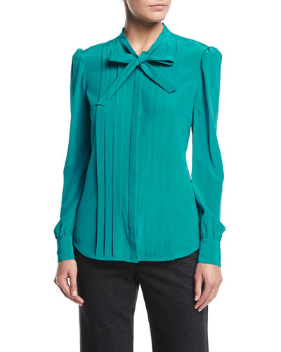 Bow-Tie Pleated Long-Sleeve Silk Blouse