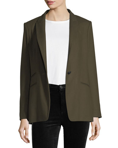 Duke Wool-Blend One-Button Tailored Blazer
