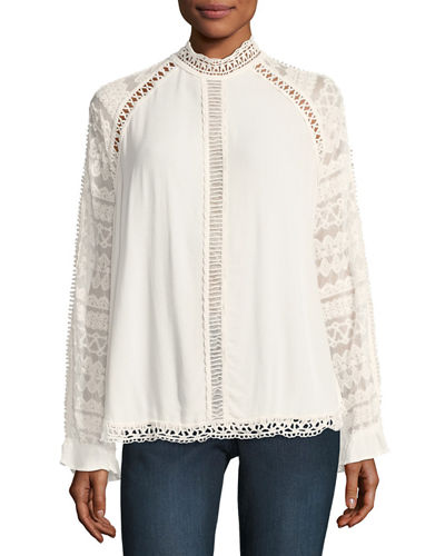 Helga Mock-Neck Lace-Detail Top