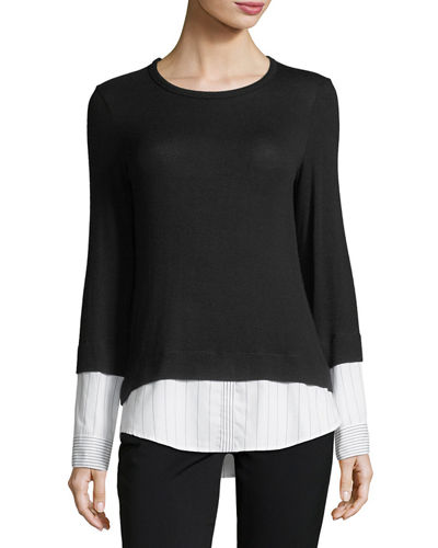 Elizabeth III Long-Sleeve Combo Sweater