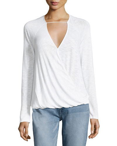 Heavy Slub Long-Sleeve Surplice Top