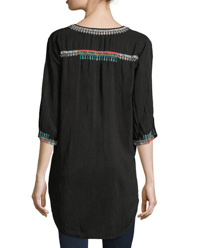 Zivelli Embroidered Georgette Long Tunic, Plus Size
