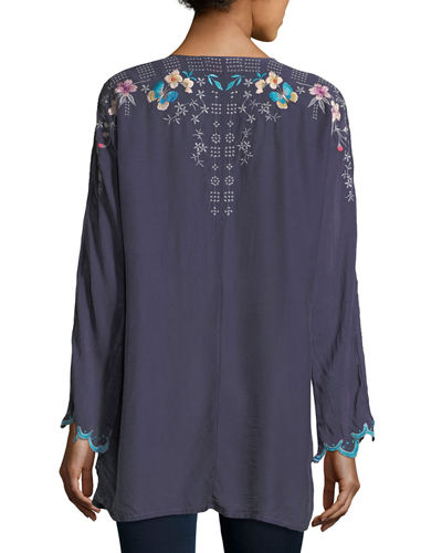 Butterfly Winter Embroidered Blouse, Plus Size