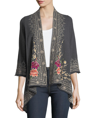 Flores Draped Embroidered French Terry Cardigan, Plus Size