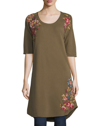 Malui Floral-Embroidered French Terry Tunic, Plus Size
