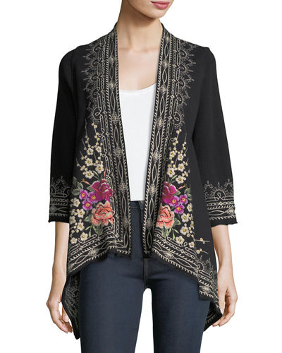 Flores Draped Embroidered French Terry Cardigan