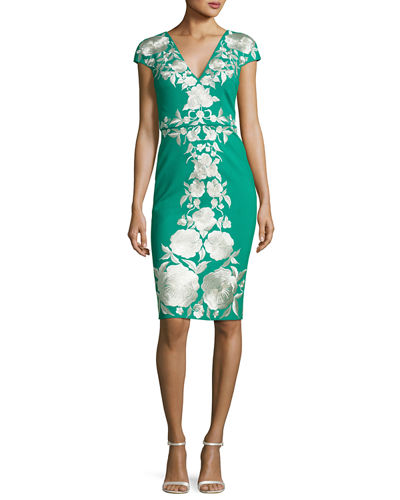 Cap-Sleeve Embroidered Jersey Cocktail Dress