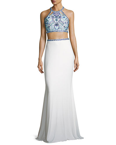 Faviana Beaded Two-Piece Stretch Jersey Gown