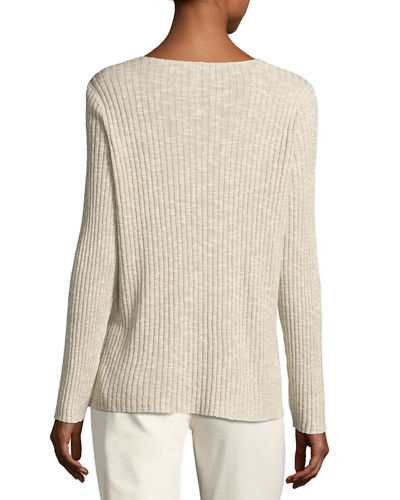 Long-Sleeve V-Neck Ribbed Tunic