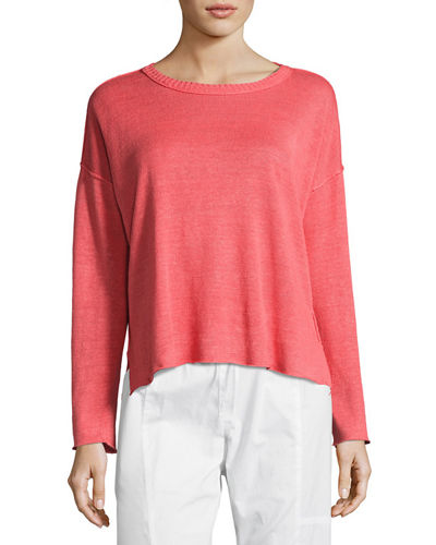 Eileen Fisher Fine-Gauge Organic Linen Box Top