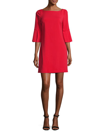 Bell-Sleeve Ponte Cocktail Dress, Red