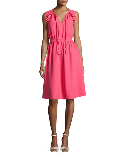 sleeveless crepe tie-front dress