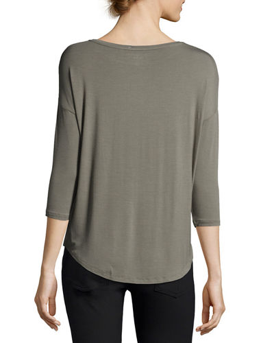 Soft Touch 3/4-Sleeve Boat-Neck Top