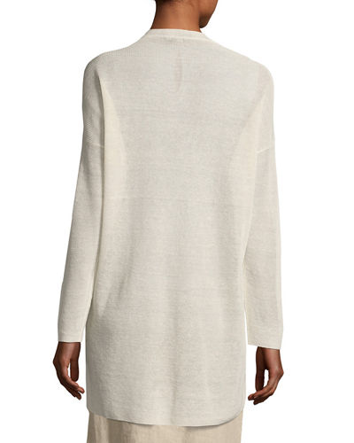 Fine Stretch-Linen Crepe Long Cardigan