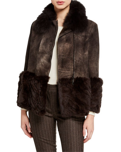Paneled Shearling Crop Jacket w/ Fox & Rabbit Fur