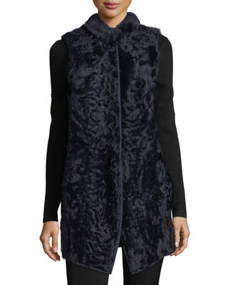 BELLE FARE LONG SHEARLING BUTTON-FRONT REVERSIBLE WOOL VEST, NAVY