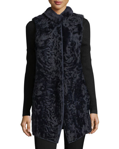Long Shearling Button-Front Wool Vest