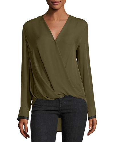 Victor Surplice Long-Sleeve High-Low Silk Blouse