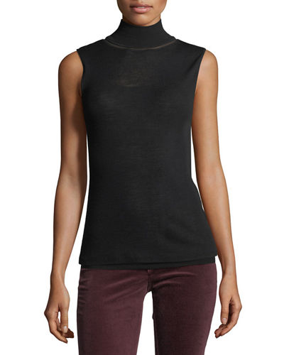 Nova Sleeveless Turtleneck Sweater w/ Mesh Inserts