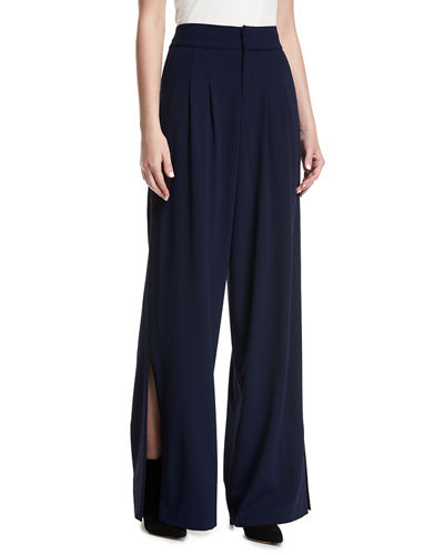 Alice + Olivia Shavon High-Waist Wide-Leg Side-Slit Crepe