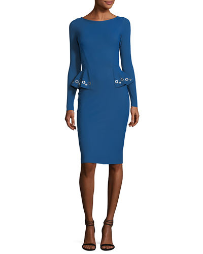 Gervaise Long-Sleeve Peplum Cocktail Sheath Dress