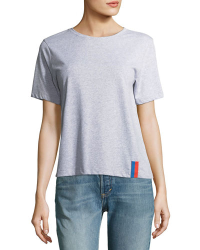 Modern Solid Crewneck Short-Sleeve Cotton Top