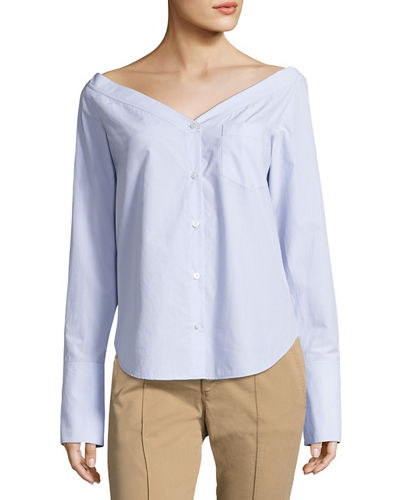 Wes Bateau-Neck Long-Sleeve Poplin Top