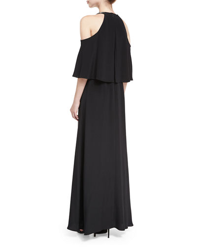 Kellen Cold-Shoulder Embellished Halter Silk Evening Gown