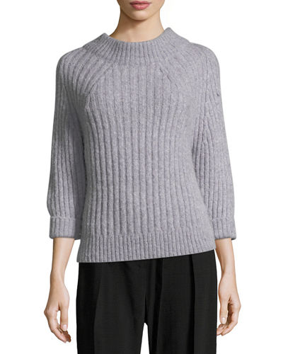 Long-Sleeve Funnel Alpaca Ribbed Pullover