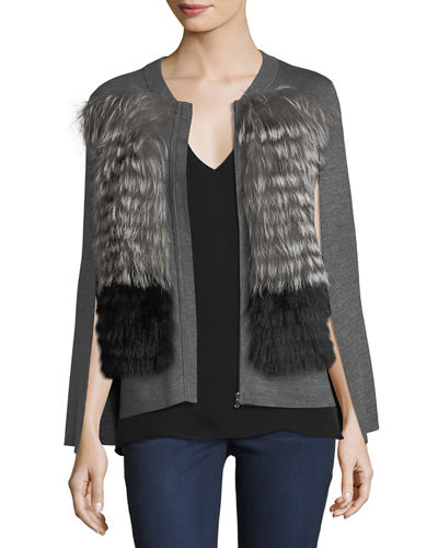 Avia Fox Fur-Trimmed Knit Cape