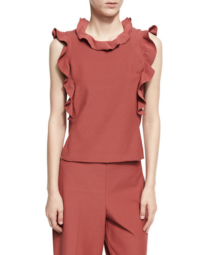 Sleeveless Ruffle Suit Top