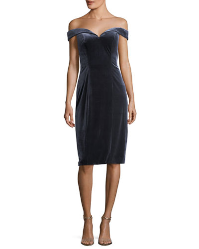 Off-the-Shoulder Velvet Sheath Cocktail Dress