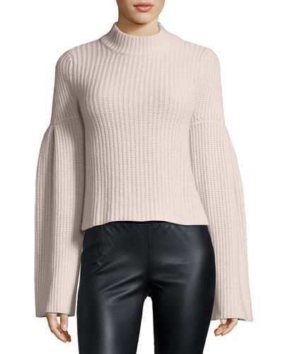 Mock-Neck Trumpet-Sleeve  Sweater