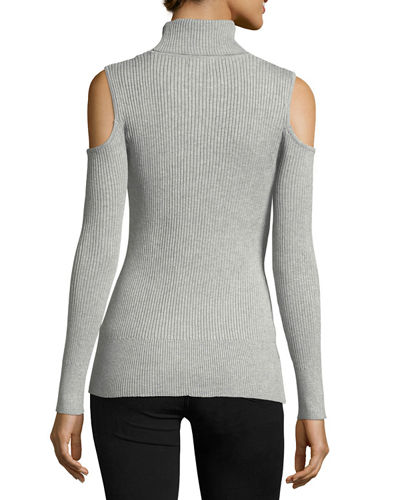 Cold-Shoulder Turtleneck Sweater