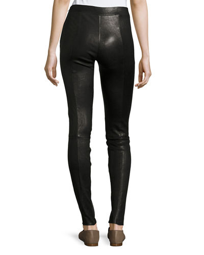 Eddine Leather High-Waist Skinny Pants