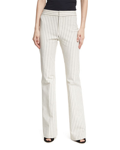 Derek Lam 10 Crosby Mid-Rise Striped Flare Cotton-Stretch