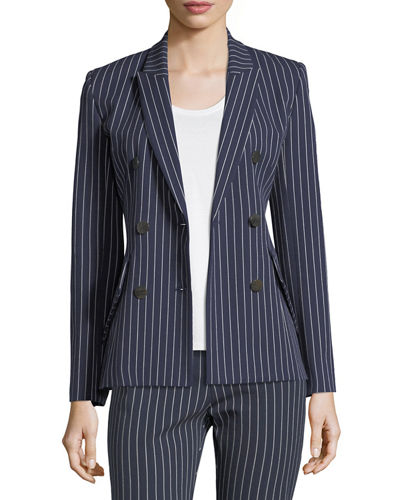 Double-Breasted Striped Cotton Blazer