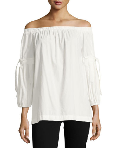 Tie-Sleeve Off-the-Shoulder Blouse
