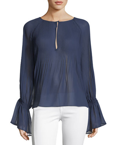 Nadja Split-Neck Pleated Sheer Blouse