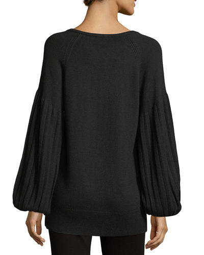 Francesca V-Neck Blouson-Sleeve Sweater