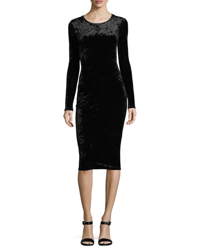 Long-Sleeve Panne Velvet Bodycon Dress