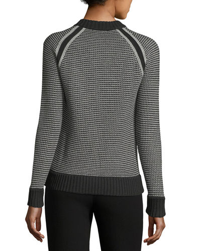 Honeycomb-Knit Button-Neck Sweater