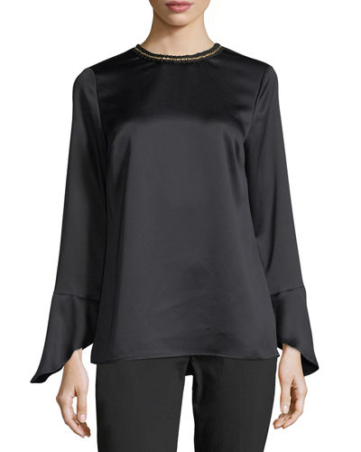 Long-Sleeve Embellished Satin Blouse