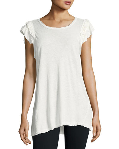 The Double Ruffle Muscle Linen-Cotton Tee