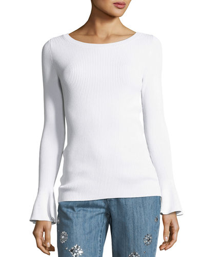 Ribbed Bell-Sleeve Boat-Neck Sweater
