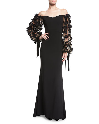 Odessa Off-the-Shoulder Crepe Evening Gown w/ 3D Florals