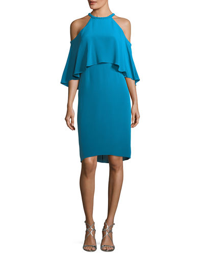 Leyton Cold-Shoulder Silk Cocktail Dress