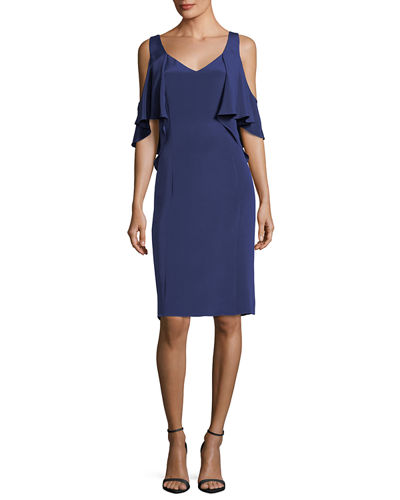 Sariya Open-Shoulder Silk Cocktail Dress w/ Ruffled Trim