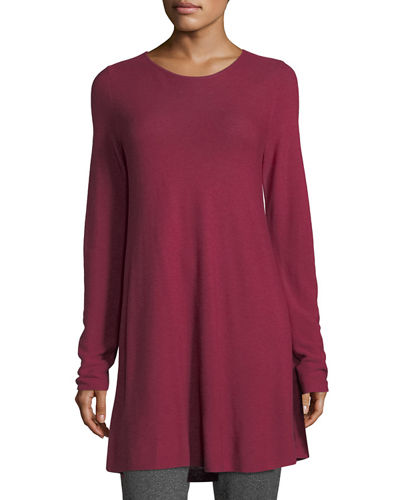 Easy Jewel-Neck Organic Cotton-Blend Tunic, Plus Size